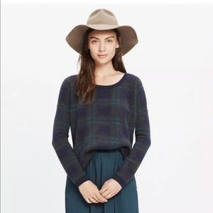 Madewell dark plaid crew neck sweater #1698